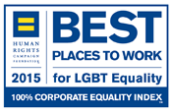 Best places to work for LGBT Equality, 2014. 100% Corporate Equality Index