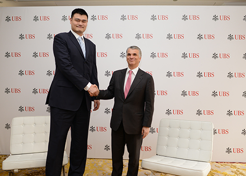 International basketball star and philanthropist, Yao Ming, meets with UBS Group Chief Executive Officer Sergio Ermotti at the UBS Greater China Conference in Shanghai